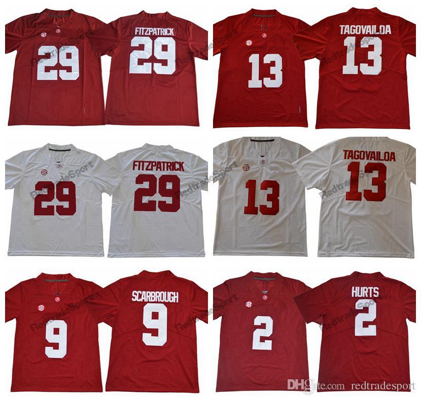 ffe6789f373 2018 Alabama Crimson Tide 13 Tua Tagovailoa 29 Minkah Fitzpatrick 2 Jalen  Hurts 9 Bo Scarbrough Amari Cooper Ridley College Football Jersey  Tagovailoa ...