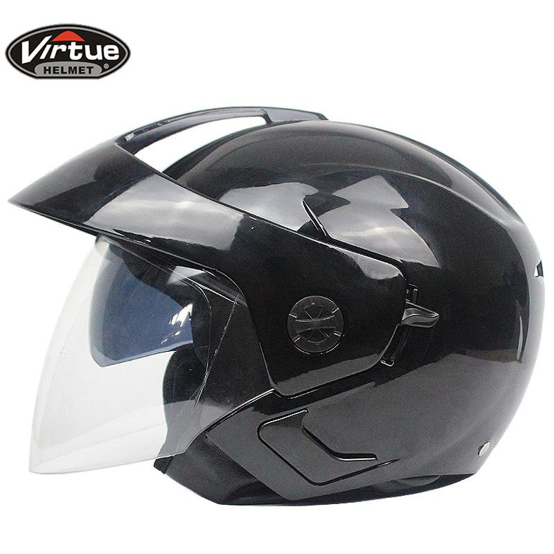 f5f01db0 Motorcycle Scooter Open Face Half Helmet Double Visor UV Goggles Retro  Vintage Style 54-60cm for Security Accessories K Helmets Cheap Helmets  Motorcycle ...