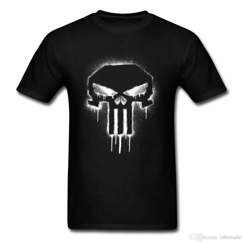 Punisher Spray Paint Logo T Shirts Design Short Sleeve Oversized