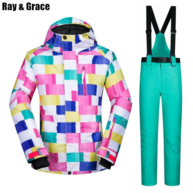 RAY GRACE Ski Suit Waterproof Windproof Jacket Pants Snow Set ... 6e3c3ecd8