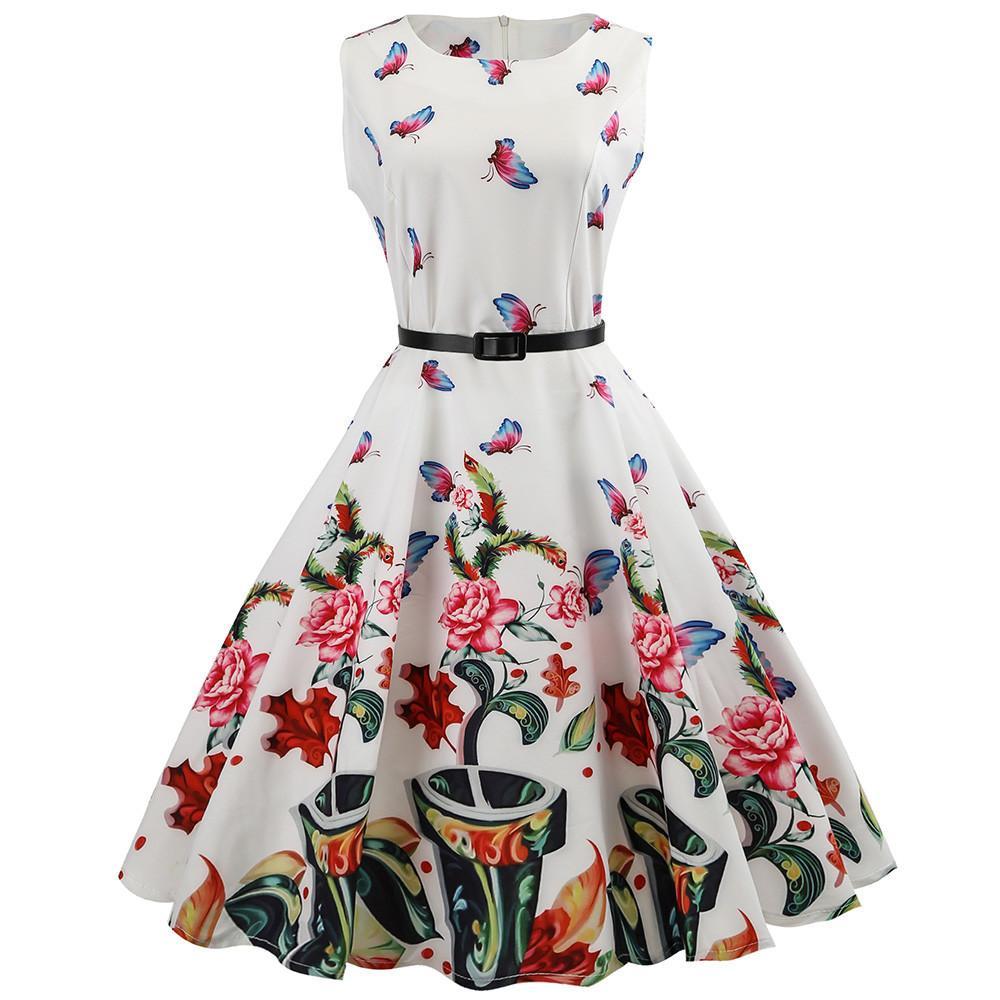 56d3e11a7710 Acquista Vestidos Verano 2019 Donne Vintage Senza Maniche Halter Partito Di  Sera Swing Dress Elegante Estate Abiti Da Donna Abiti Da Festa A  33.04 Dal  ...