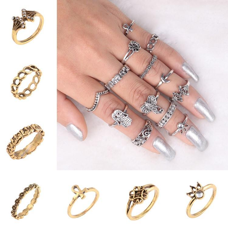 eddfbd5b0c Hot Geometric Engraving Pattern Knuckle Rings Set / Set Of Boho Totem  Design Ring Finger Wide Ring Jewelry Set Band RingT6C116 Engagement Ring  Wedding Bands ...