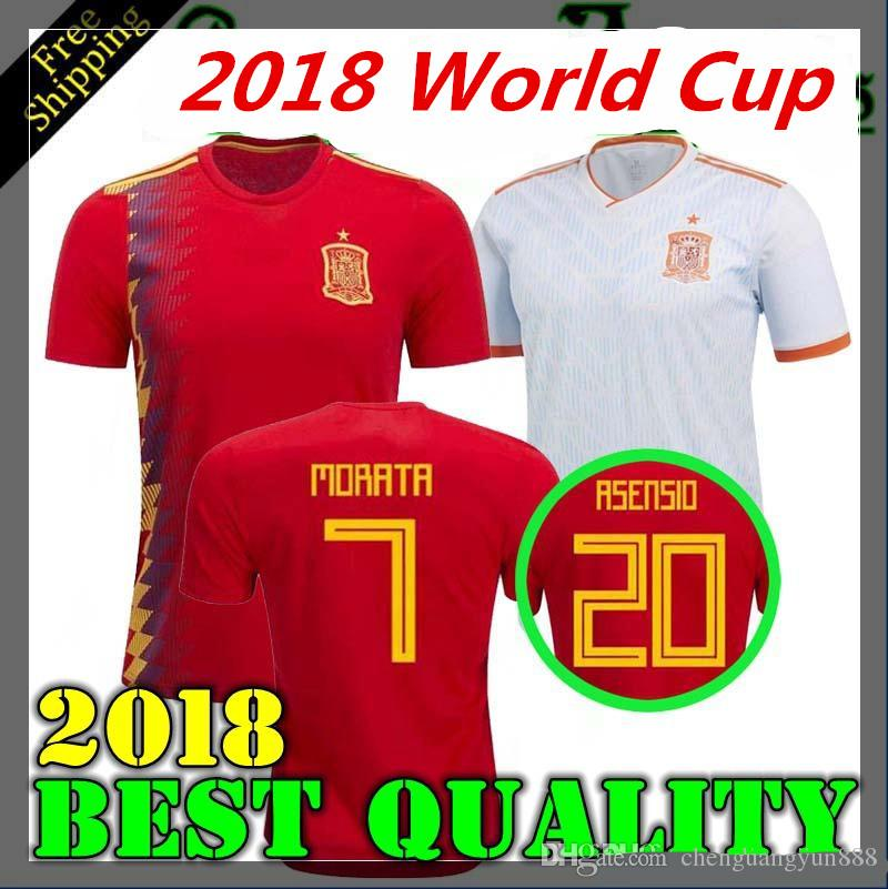 7e3906636 2019 2018 Spain Home Away Soccer Jersey 2018 World Cup Spain Soccer Shirt  2018 MORATA ISCO ASENSIO RAMOS PIQUE Football Uniforms Sales From  Chenguangyun888