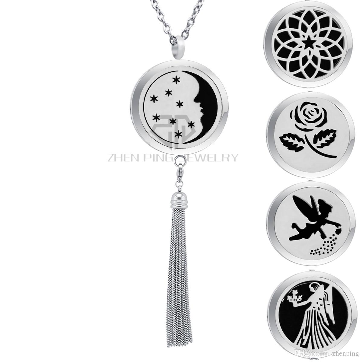 Aromatherapy Moon and Star Desgin Stainless Steel Fringe Dangle Perfume Locket Pendant Necklace Magnetic Tassels Diffuser Locket