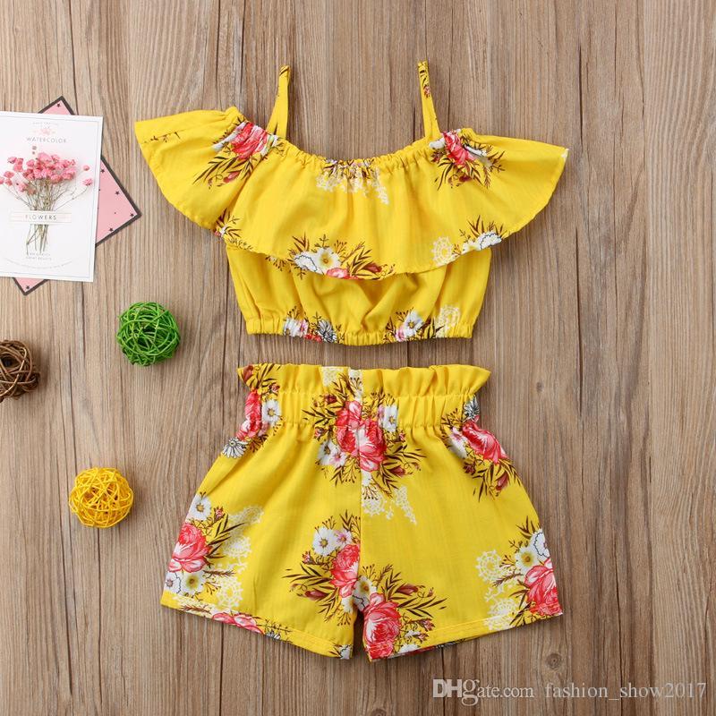 طفل طفلة ملابس صفراء الأزهار تكدرت حزام قمم سترة السراويل قيعان الصيف ملابس الشاطئ مجموعة ملابس