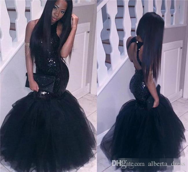 Black Girl Mermaid Abiti da ballo africani Abiti da sera Plus Size Lunghi paillettes sexy Backless Guaina Abiti economici Party Party Homecoming Dress