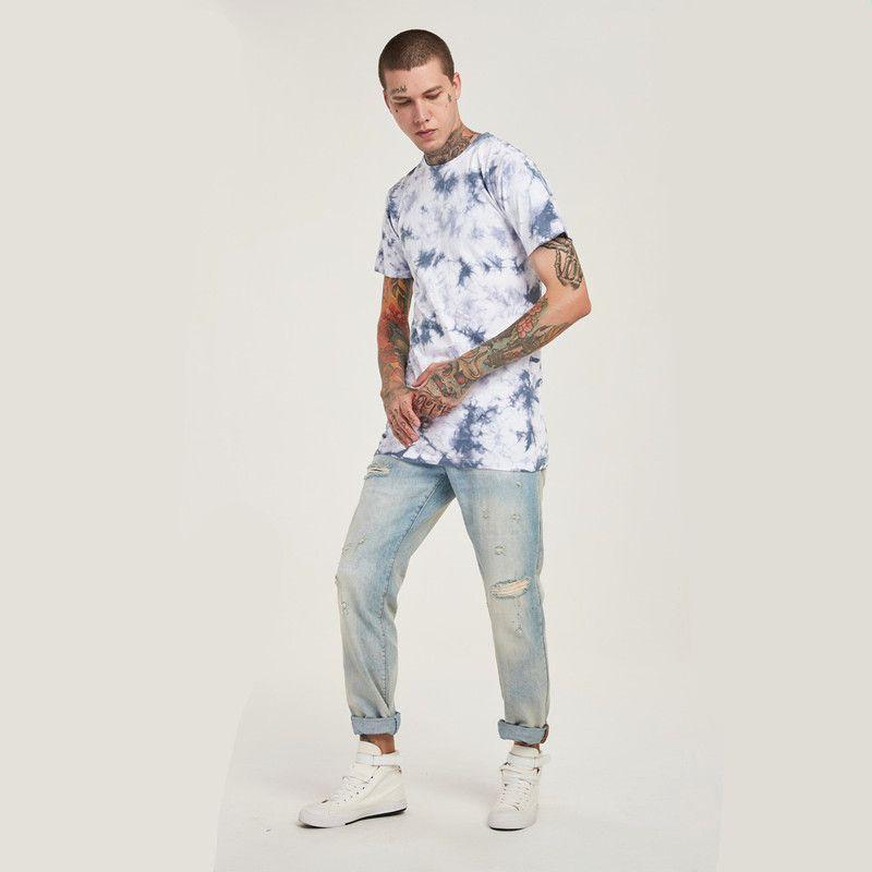 Wholesale Freies Verschiffen Mode Männer Kurzarm Baumwolle Gewaschen Druck Hip Hop Streetwear Casual T-shirt Top