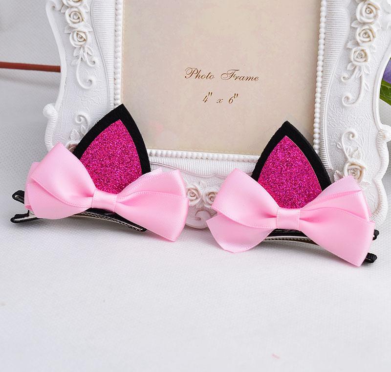 2 pezzi = 1 paio di bambini neonate accessori capelli clip Forcine bambini barrette Bow copricapo fiore orecchie di gatto forcina