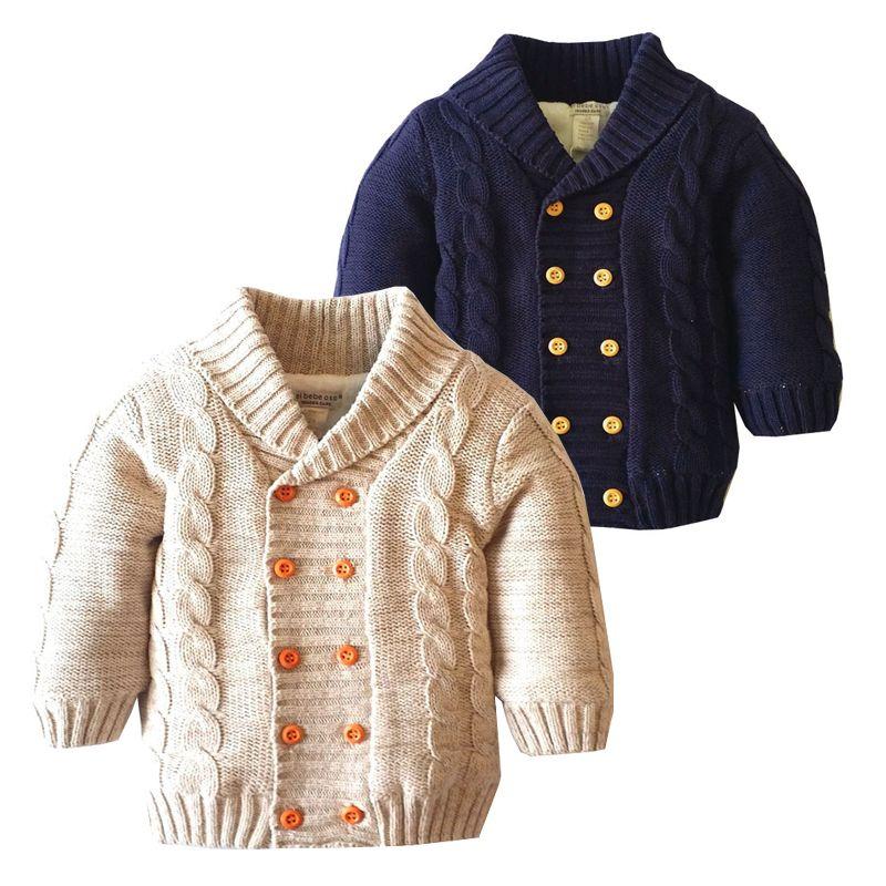 Дети зимние пальто с длинным рукавом руно Подкладка Теплые одежды младенца вскользь младенца хлопка вязать кардиган свитер 18051803