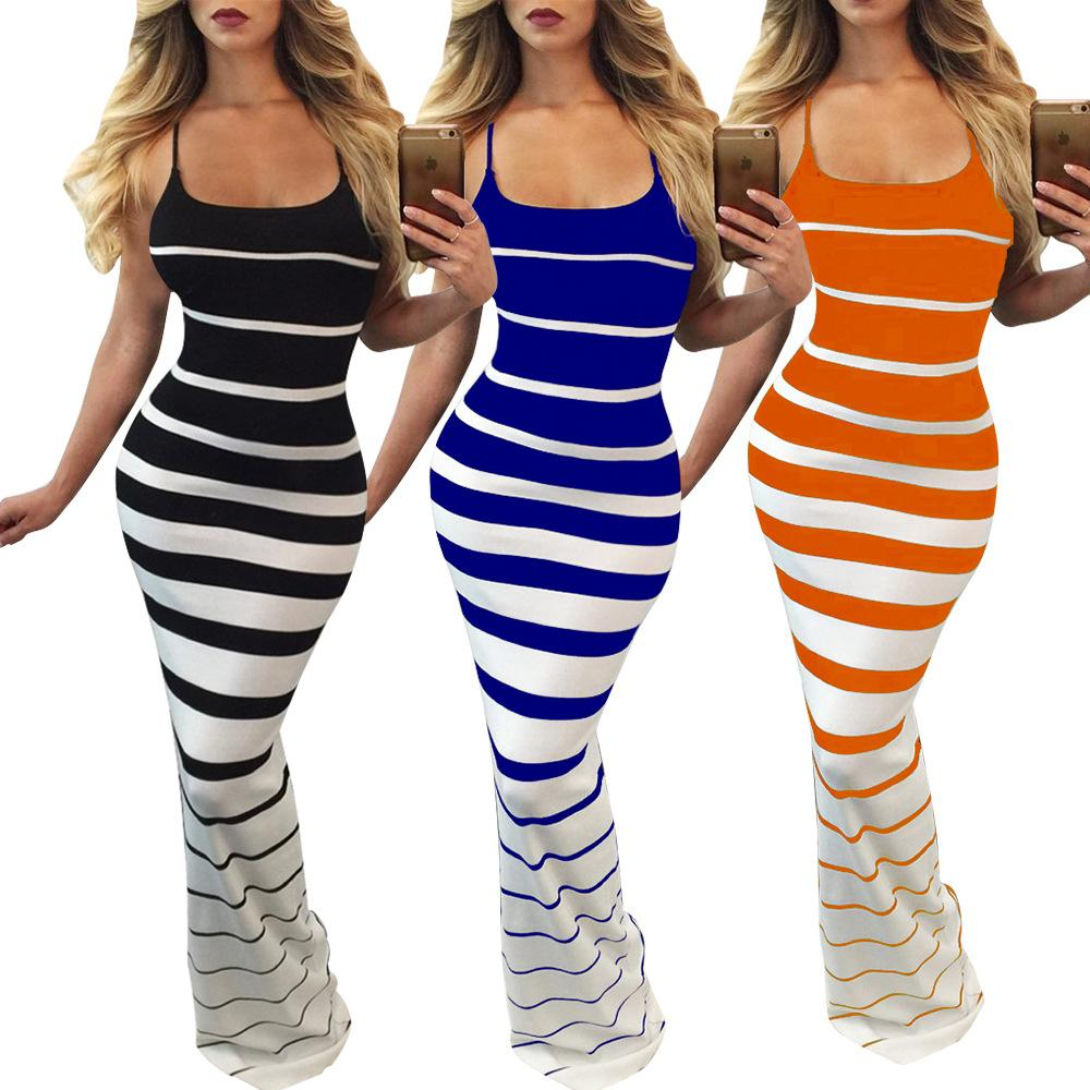 83d47fc771180 2019 Fashion Clothing Slim Dress Women Stripe Sexy Backless Summer Boho  Maxi Long Evening Party Dresses 80 From Fantasybaby