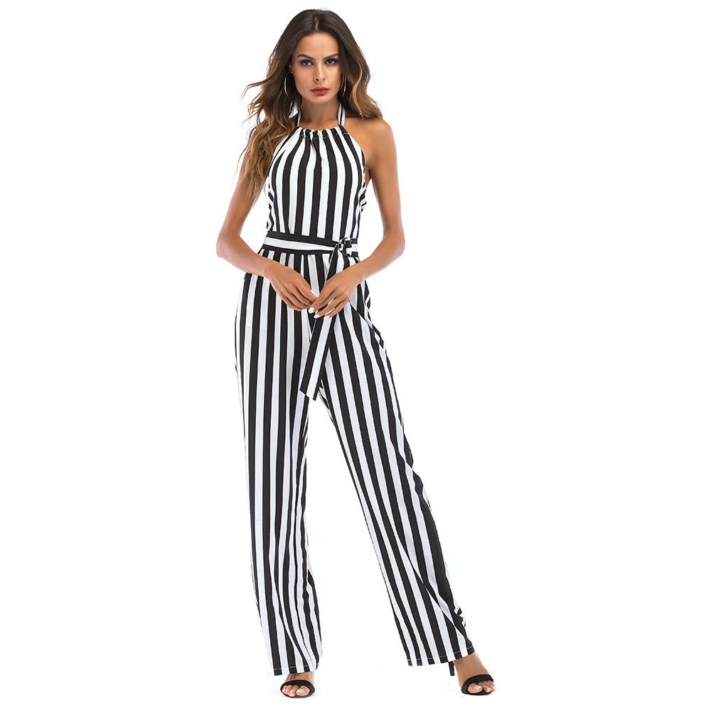 638e4891fa6 2019 Competent Office Lady One Piece Jumpsuit Fashion Vertical Striped Lace  Up Hanging Neck Halter Backless Overalls Wide Leg Summer From Sincha