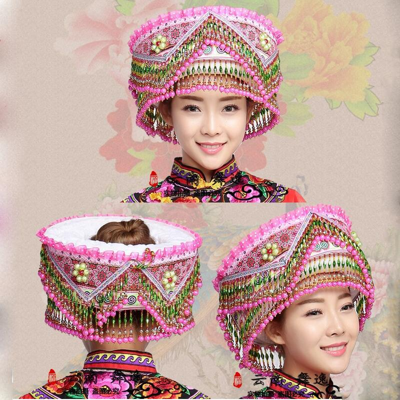 56bf0d101 2019 Hmong Hat Miao Jewelry Chinese Folk Dance Hair Accessories Miao Hat  Ethnic Minority Stage Performance Wear Accessories From Zanzibar, $79.45    DHgate.