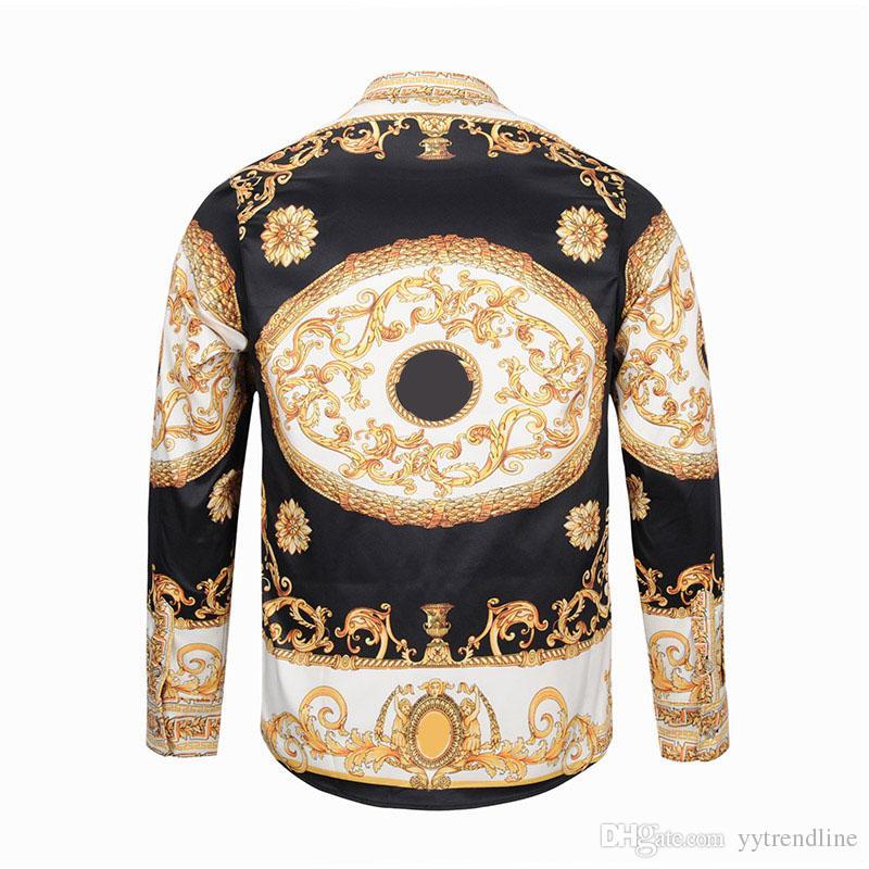talian luxury fashion design men Medusa satin long sleeves hirt,color mixed casual Harajuku , 3D flower print cotton shirt