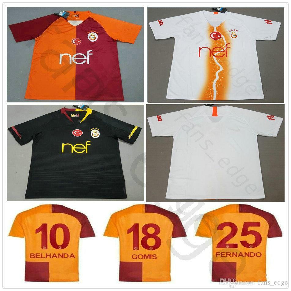 Compre 2018 2019 Galatasaray Camisa De Futebol GOMIS CIGERCI BELHANDA  FERNANDO FEGHOULI SNEIJDE Oztekin Personalizado Branco Laranja Preto 18 19  Camisa De ... 17dbea7c14f57