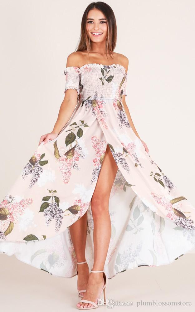 Fashion Floral Printed Bohemian Beach Dresses Summer Sexy Off-shoulder  Split Maxi Long Dress Women Party Eleagnt Boho Holiday Dress 2018 New Women  Summer ... 96981d58acaa