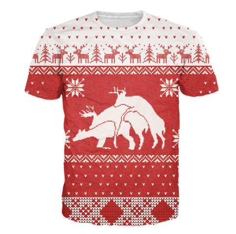 c176b190a Merry Bucking Christmas T Shirt Animal Deer 3d Print T Shirt Women Men  Fashion Clothing Tops Outfits Tees Plus Size U484 Awesome Tshirt Designs 10  T Shirts ...