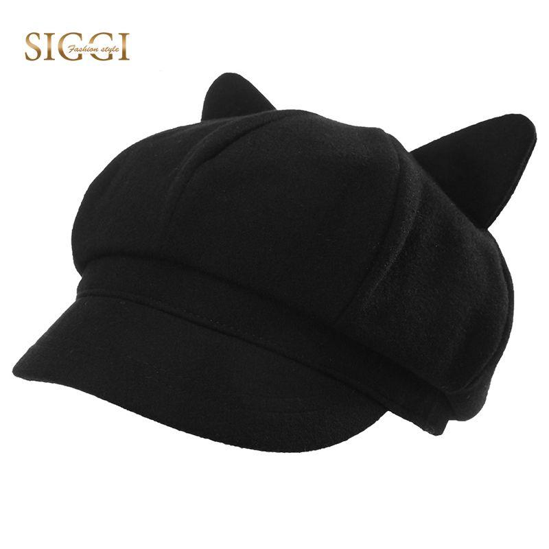 60a97e5ca97 2019 SIGGI Family Berets Hats For Women Girls Solid Woolen Soft Cute ...