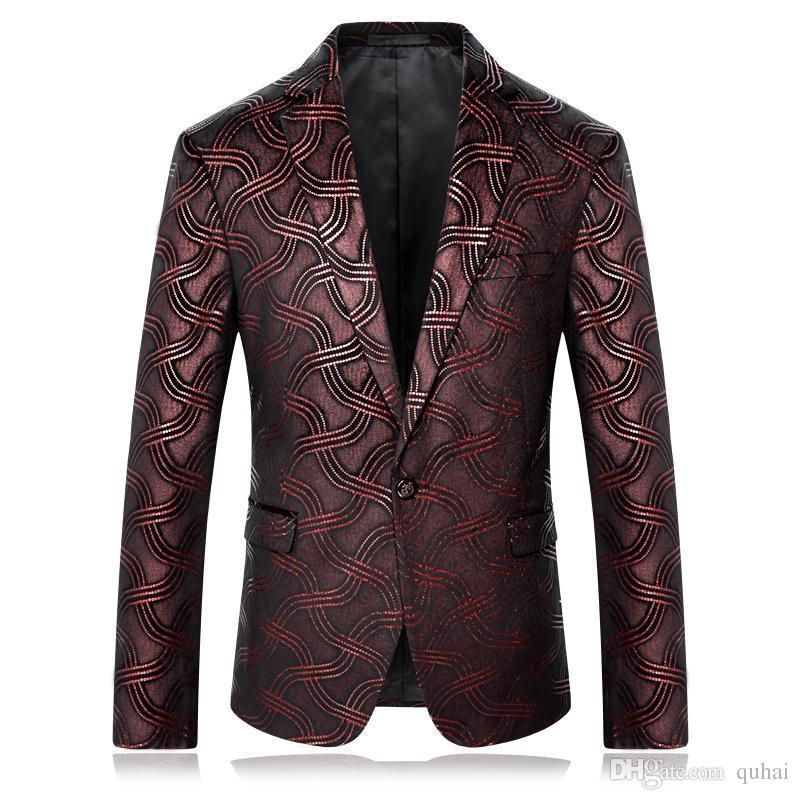 Satın Al 2018 Erkek çiçek Ceket Takım Elbise Boyama Erkek Blazers