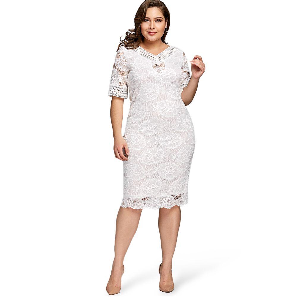 2019 Gamiss Plus Size V Neck Half Sleeve Lace Dress Bodycon 2018 Women  Fashion Sexy Office Club Work Ladies Dresses Big Size Vestido From  Finebeautyone 9cfa957e87df