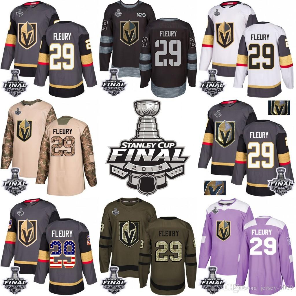 brand new 8671c 9e44b 2018 Stanley Cup 29 Marc-Andre Fleury Vegas Golden Knights Green grey USA  Flag Purple Fights Cancer Practice Camo Veterans Day Jersey