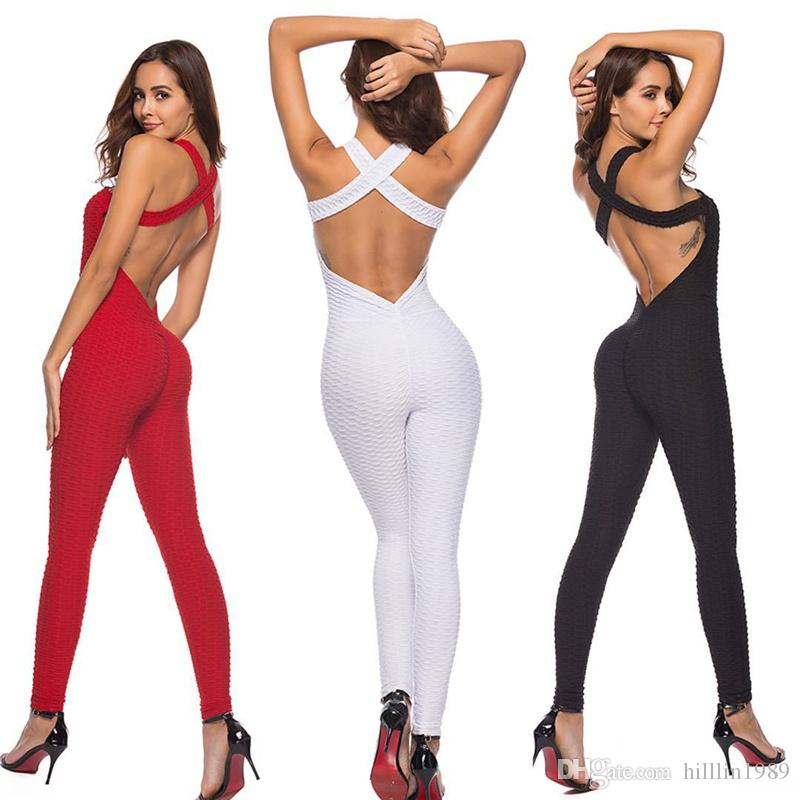 5f5b37206bdc2 2019 Fitness Clothing Women One Pieces Sports Suit Workout Jumpsuit Pants  Sexy Yoga Bandage Gym Bodysuit Active Rompers From Hilllin1989