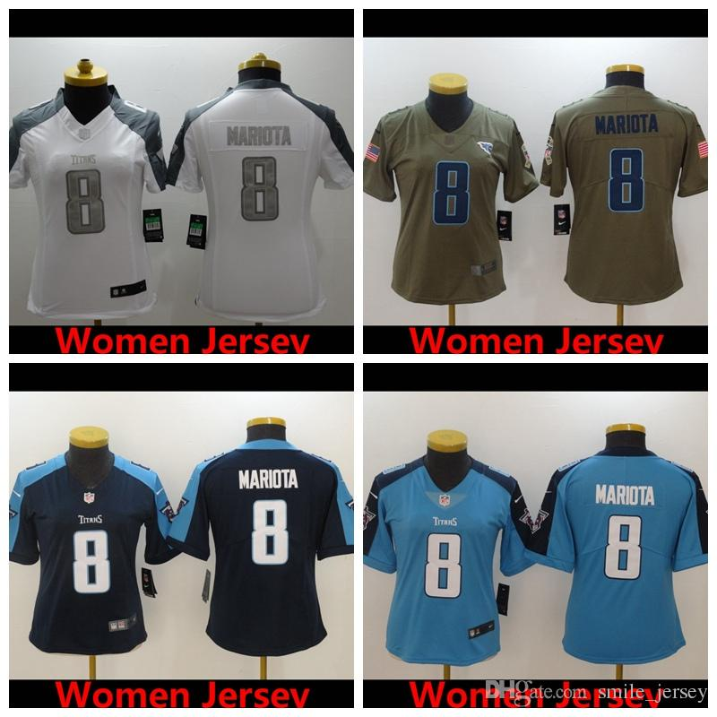 the latest 7f2c1 889ad 2019 Women 8 Marcus Mariota Tennessee Jersey Titans Football Jersey 100%  Stitched Embroidery Marcus Mariota Color Rush Women Football Shirt