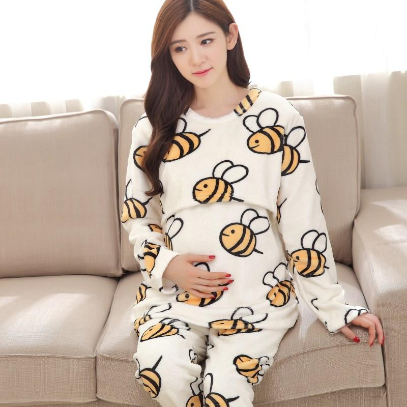 141276f159334 Thickening Winter Nursing Pajamas Expectant Mother Feeding Home Clothe Set  Coat + Pants Character Pregnant Women Pajamas