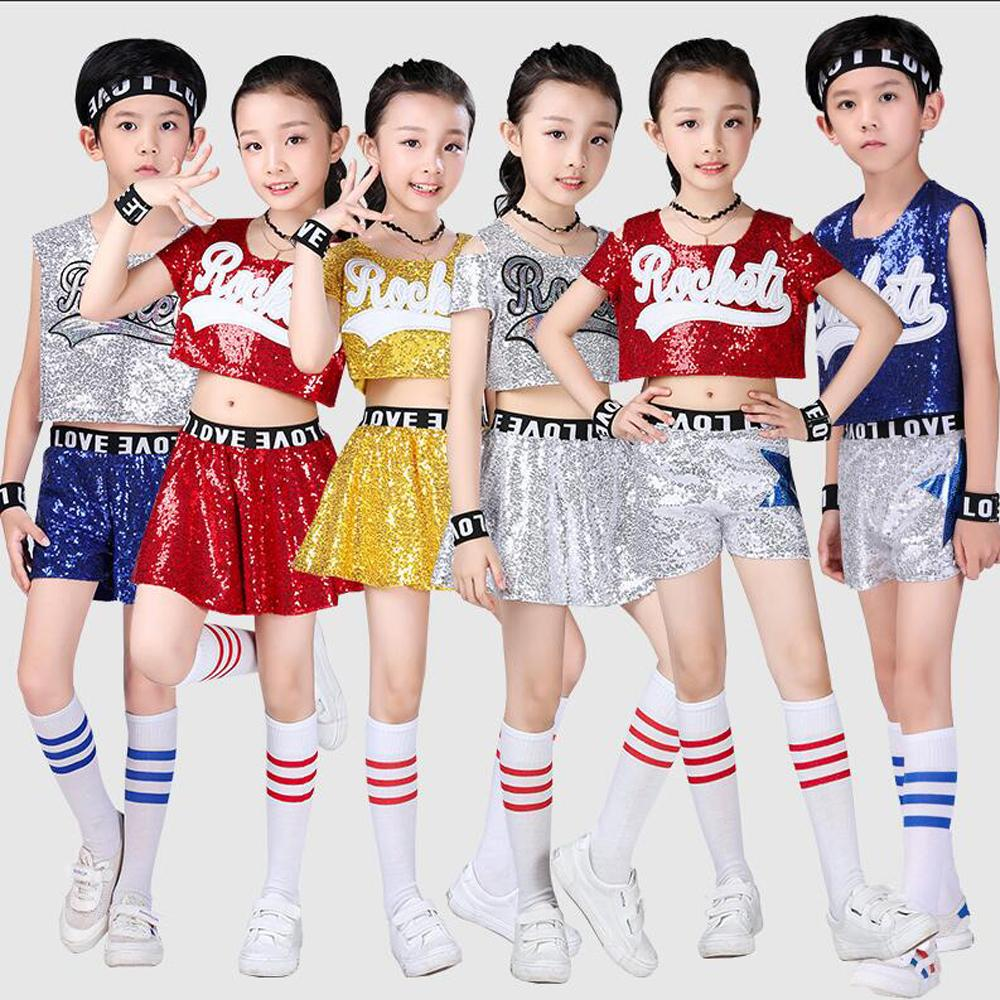 c772e7ae0 Girls Boys Sequined Ballroom Jazz Hip Hop Dance Competition Costumes Shirt  Tops Pants Kid Cheerleaders Dancing Suit Wear Outfits