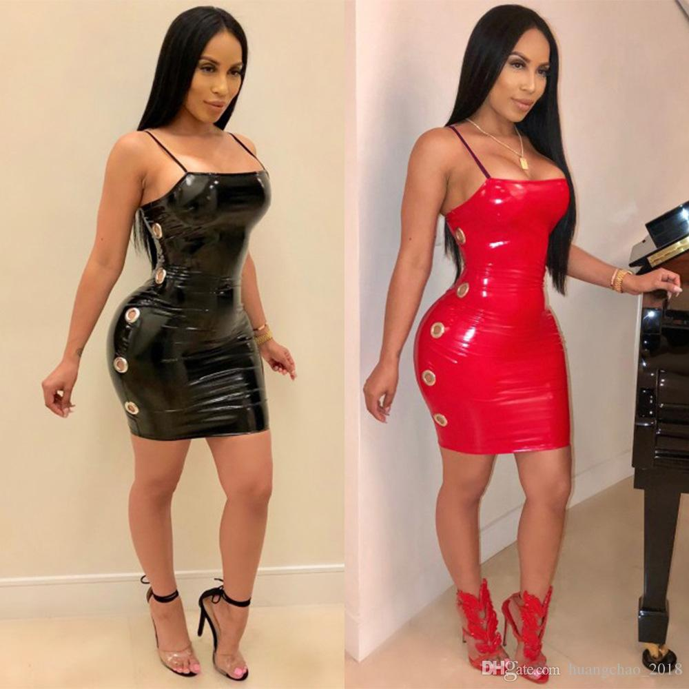 9879534f09 Women Backless Hole Off Shoulder Sexy Party Dress Red Pu Leather Short  Summer Dress Streetwear Vestidos Spring Dresses Junior Dresses From  Huangchao 2018