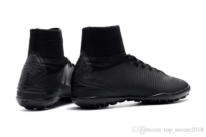 Full Black Mercurial Superfly V TF Children Soccer Cleats Turf Indoor Women Football Boots 100% Original TF Flat Kids Indoor Soccer Shoes