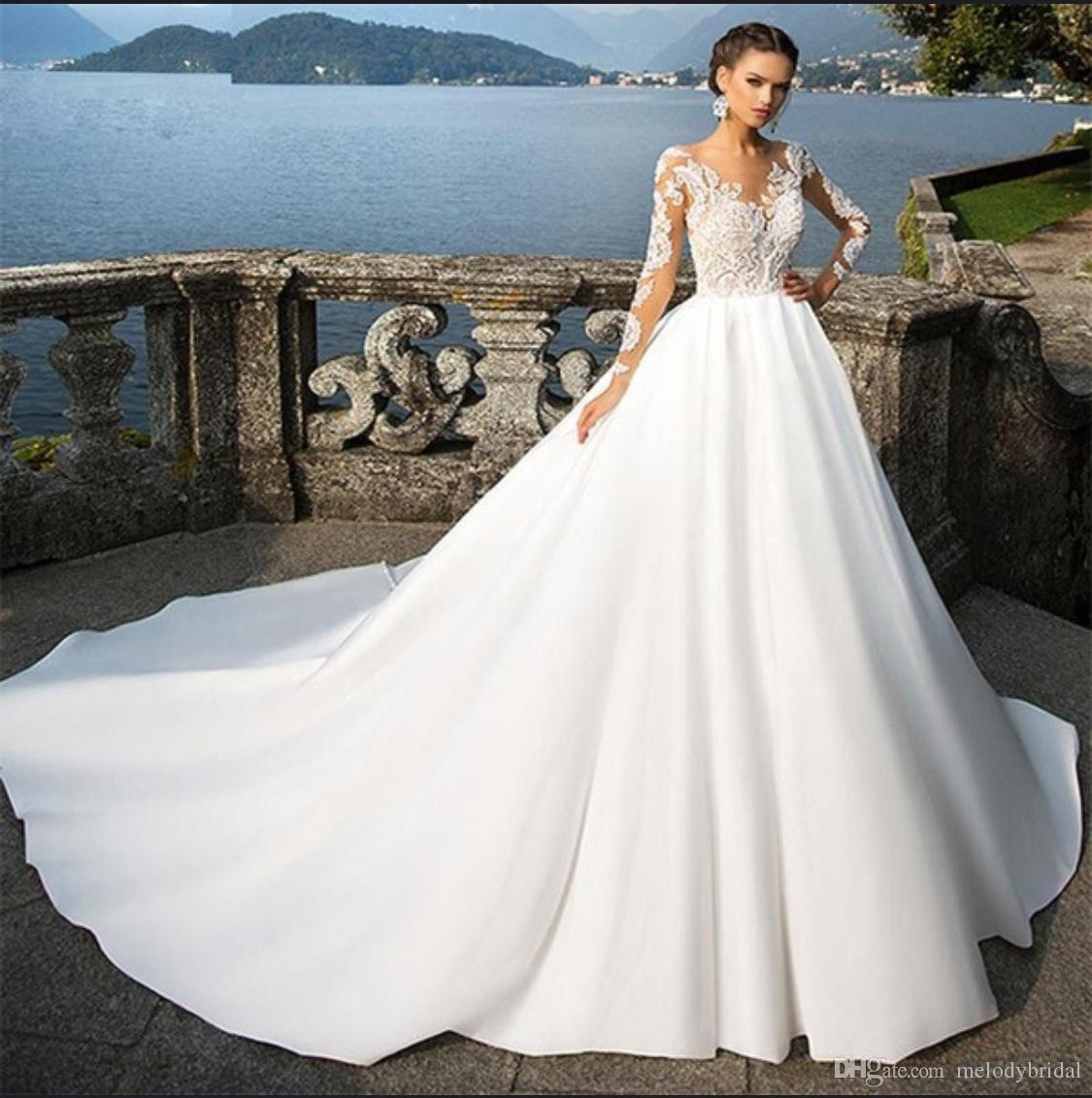 Long Sleeves Wedding Dresses 2018 Newest Bridal Gown Satin Fabric Lace  Appliques With Long Train Dress For Brides Robe De Mariage Noiva Outdoor  Wedding ... 254990997b7e