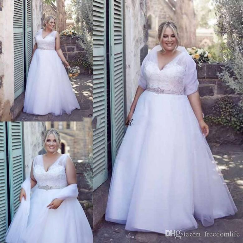 Modest White Plus Size Wedding Dresses With Wrap V Neck A-Line Lace Beaded  Bridal Gowns Sweep Train Crystals Vintage Wedding Dress