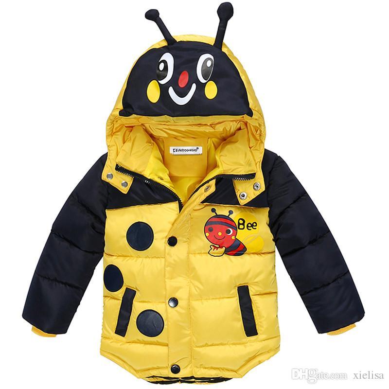 2018 envío gratis traje de nieve niños de invierno niños chaquetas de moda abrigo de invierno para niños prendas de vestir exteriores de bebés niños niñas abajo chaqueta Hoohed tela