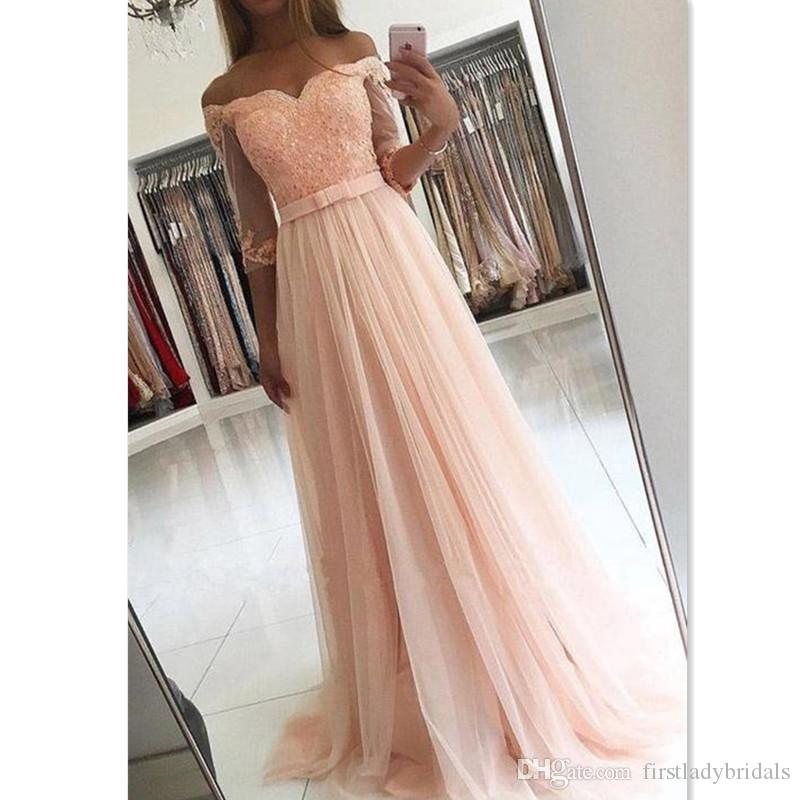 9d1a27957d 2018 Light Pink Off Shoulder Prom Dresses With Sleeves A Line Tulle  Appliques Lace Sweetheart Evening Party Gowns Wear With Sash Edgy Prom  Dresses Grecian ...
