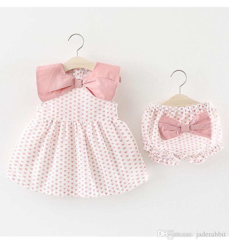 0754d4b2ac5 2019 Girls Heart Print Bow Vest Dress+Pants Set Summer 2018 Kids Boutique  Clothing Korean 1 4T Little Girls Sleeveless Dresses Outfits From Jaderabbit