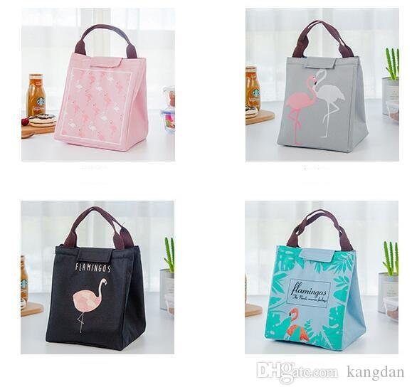 Flamingo thermal insulation lunch bag Waterproof portable lunch tote outdoor camping keep warm hand bag oxford fabric lunch box