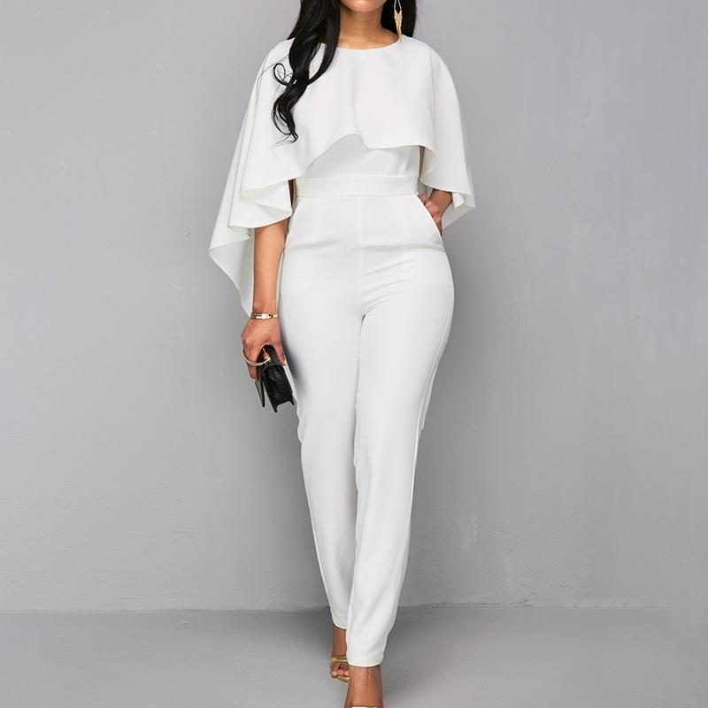 44ee2e18504 2019 2018 Fashion White Womens Jumpsuit Body Bodies Woman White Ruffle  Sleeve Jumpsuit For Women Romper Jumpsuits From Vikey16