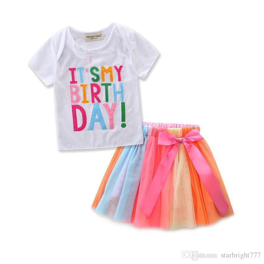 Ins Baby Girls Birthday Cake camiseta + Rainbow Skirt 2 piezas Kids Cotton manga larga manga corta 2 Designs Outfits para vestidos de fiesta de cumpleaños