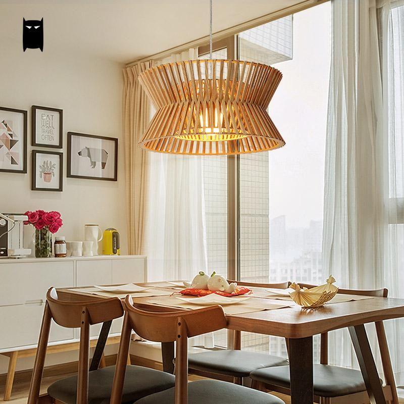 Wooden Hat Lampshade Pendant Light Fixture Nordic Creative Art Deco
