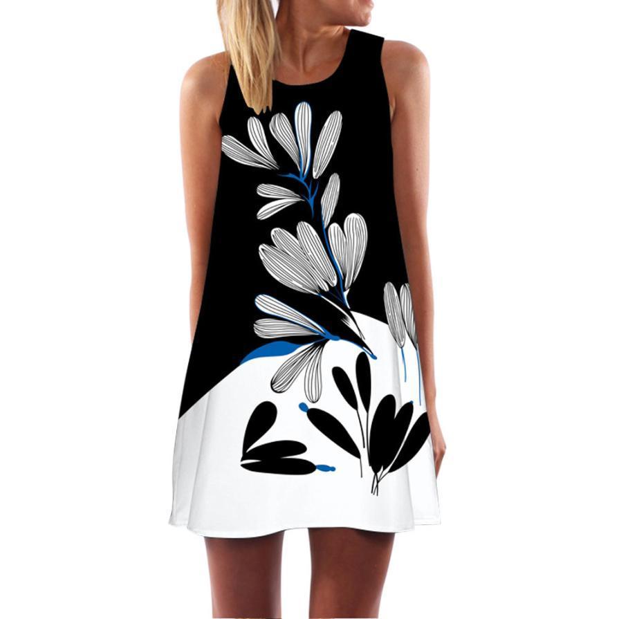 2f49edfd3a5 2018 Summer Dress Women Floral Print Chiffon Dress Sleeveless Boho Style Short  Beach Sundress Casual Shift Dresses Vestido Dress Sale Sexy Evening Dresses  ...