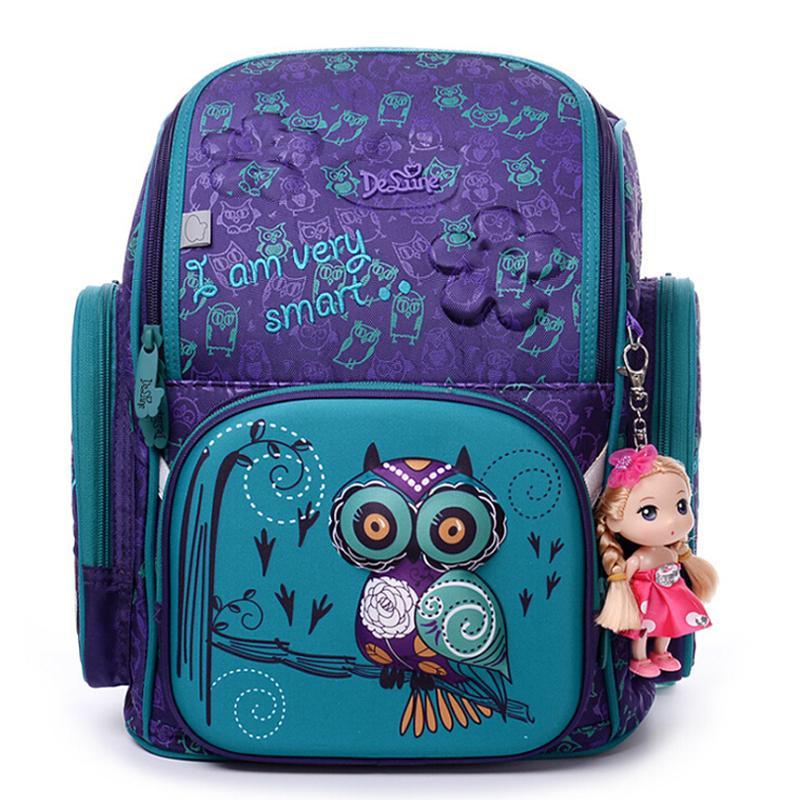 d47322758fbc High Quality Brand School Bags For Girls 3D Owl Bear Print SchoolBag Children  Orthopedic Backpack Mochila Escolar Birthday Gift Y18100705 Backpack On  Sale ...