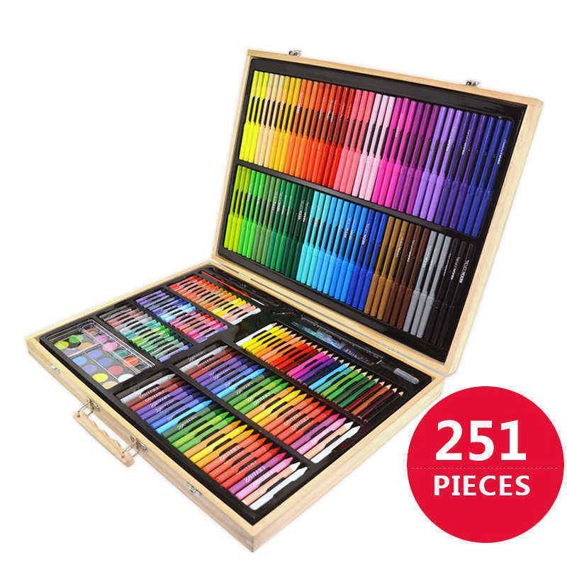0de6a245720f Compre 251 Piecs Art Tools Set De Pintura Para Niños, Niños, Dibujo, Agua,  Color, Lápiz, Crayones, Pasteles Al Óleo, Para Niños, Con Caja De Madera A  $95.48 ...