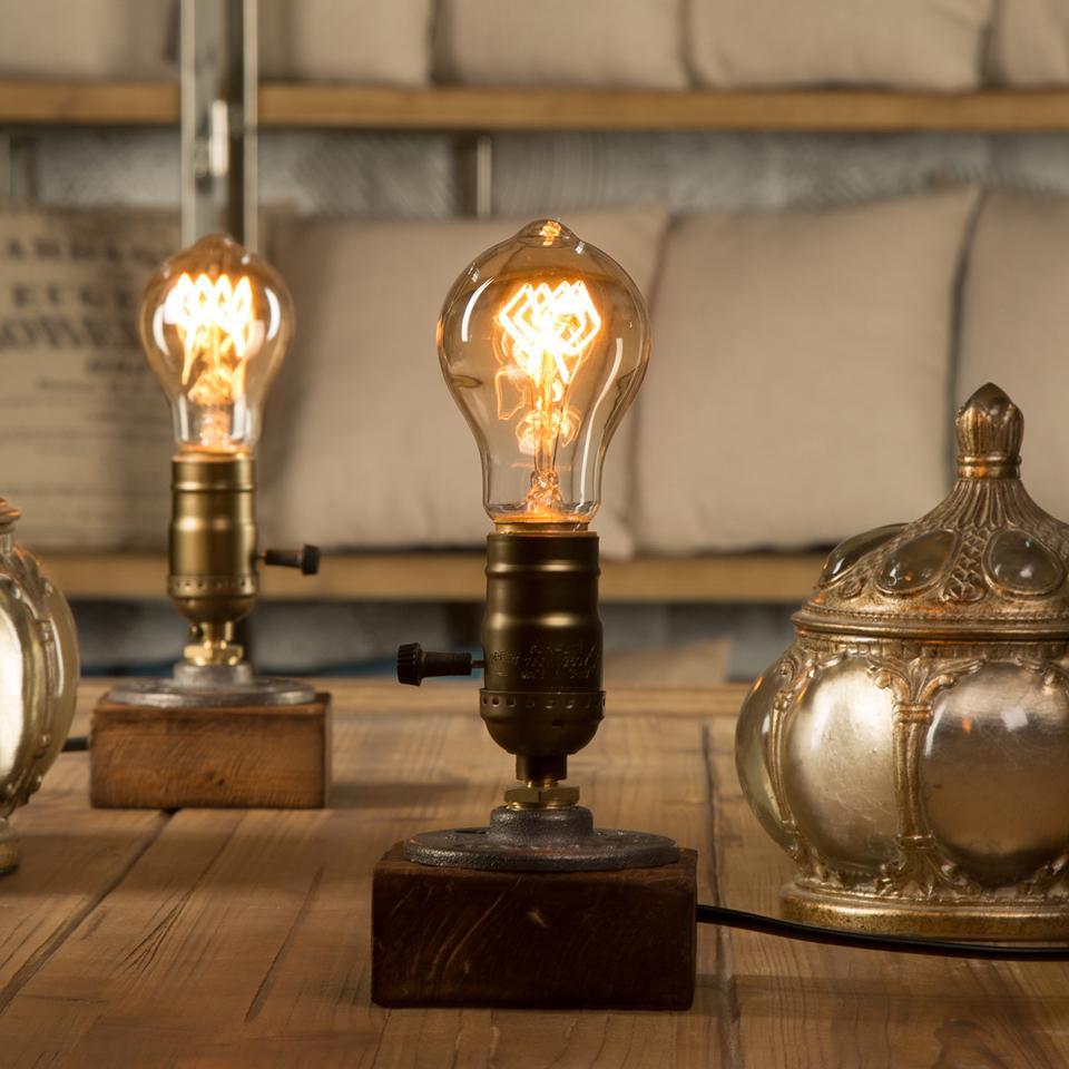 2019 Dimmer Vintage Industrial Decor Table Light Edison Bulb Wood
