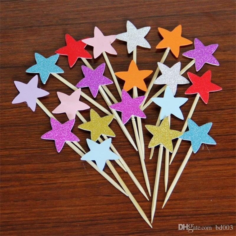 Bling Design Sticks Tab Five Pointed Star Plugged In Cake Decorations Powder Heart Shape For Birthday Party Favor Supplies 0 6lh ZZ