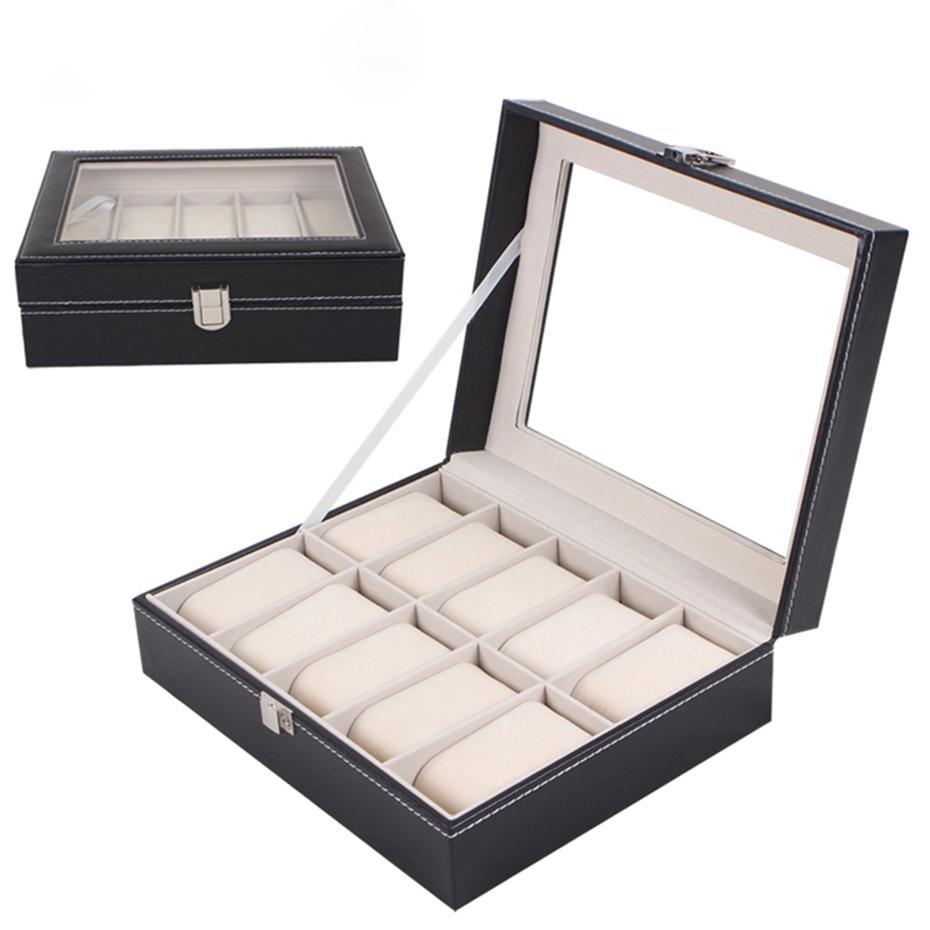 444b11f051da Compre 10 Ranuras Cuadrículas Aivtalk Caja De Reloj De Calidad Superior  Reloj De Cuero De LA PU Caja De Almacenamiento De Joyas Caja Caja De  Exhibición ...