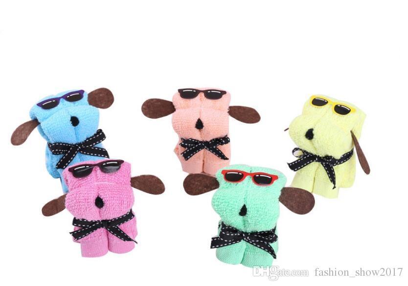 Hot Cute Dog Children Toy Shape Cotton Cake Towel Creativo Día de la Madre Regalo de boda Regalos de cumpleaños