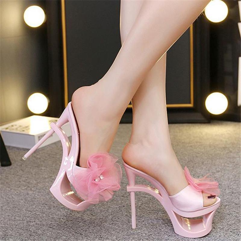 7745d64b7aa Women Summer Sweet Floral Chiffon Rhinestone Peep Toe Platform 15cm Thin  Strange Style High Heels Slides Slippers Sandals 25 Wedge Boots Boots Sale  From ...