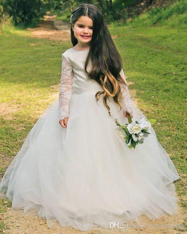9b129bd1ed Vintage Ivory Flower Girl Dresses For WeddingPrincess Tutu Long Sleeves Lace  Low V Back Tulle Child First Communion Dress Custom Made Spring Dresses For  ...