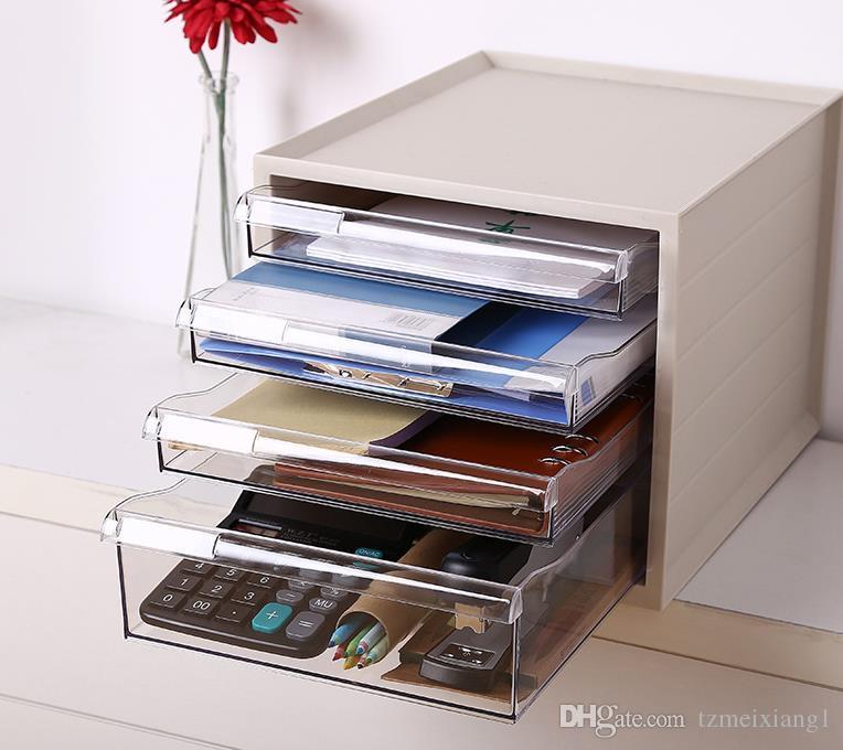 Multi-Layer-Schubladentyp Kunststoff Büro Desktop Aufbewahrungsbox Aktenschränke Kosmetik Kleinigkeiten Schmuckschränke