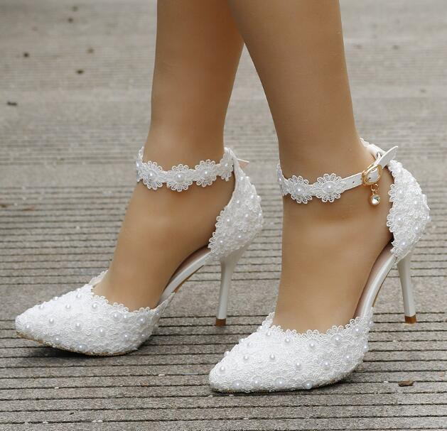 2018 fashion Pink white Lace Pearl Flower Wedding shoes One word Wristband Bride's shoes Fine heel Wedding Dress Sandals large size 34-42